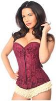 Lavish Wine Lace Overbust Corset w/Zipper