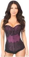 Lavish Plum Brocade w/Black Eyelash Lace Overbust Corset
