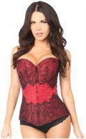 Lavish Dark Red Brocade w/Black Eyelash Lace Overbust Corset