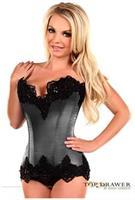 Top Drawer Gunmetal Satin Steel Boned Beaded Corset
