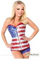 Top Drawer Steel Boned Sequin Flag Corset