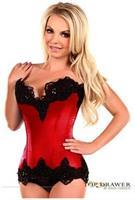 Top Drawer Red Satin Steel Boned Beaded Corset
