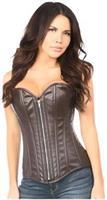 Top Drawer Distressed Dark Brown Faux Leather Steel Boned Corset