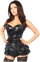 Top Drawer Black Satin and Sequin Steel Boned Corset w/Removable Snap Skirt