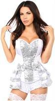 Top Drawer White/Silver Satin and Sequin Steel Boned Corset w/Removable Snap Skirt