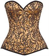 Top Drawer Elegant Gold Embroidered Steel Boned Corset