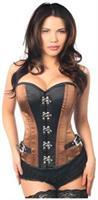 Top Drawer Brown/Black Buckle Steel Boned Corset