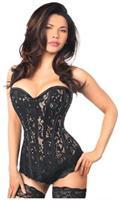 Top Drawer Black Lace Steel Boned Corset w/Rhinestones