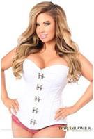 Top Drawer White Steel Boned Corset w/Clasp Closure