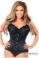 Top Drawer Black Steel Boned Underbust Corset w/Busk Closure