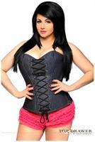 Top Drawer Denim Steel Boned Lace-Up Front Corset