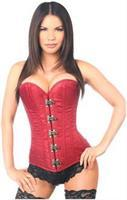 Top Drawer Wine Brocade Steel Boned Corset w/Clasp Closure