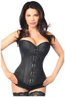 Top Drawer Black Brocade Steel Boned Corset w/Clasp Closure