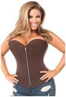 Top Drawer Dark Brown Cotton Steel Boned Overbust Corset w/Zipper