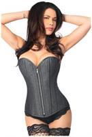 Top Drawer Denim Black Steel Boned Overbust Corset w/Zipper