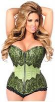 Top Drawer Mint Green Brocade Steel Boned Corset w/Black Eyelash Lace