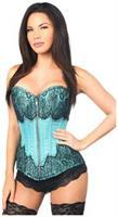 Top Drawer Teal Brocade Steel Boned Corset w/Black Eyelash Lace