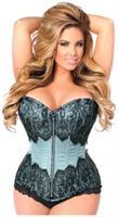 Top Drawer Lt Blue Brocade Steel Boned Corset w/Black Eyelash Lace