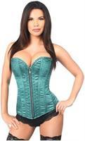 Top Drawer Two-Tone Turquoise Brocade Steel Boned Overbust Corset