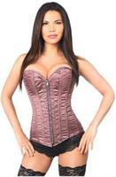 Top Drawer Two-Tone Pink Brocade Steel Boned Overbust Corset