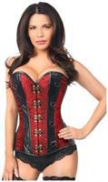 Top Drawer Two-Tone Wine Brocade and Faux Leather Steel Boned Corset
