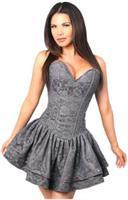 Top Drawer Dark Grey Lace Steel Boned Ruffle Corset Dress