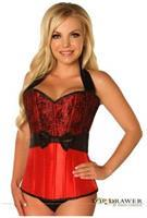 Top Drawer Red Lace and Bow Halter Steel Boned Corset