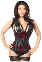 Top Drawer Red Velvet Steel Boned Underbust Corset