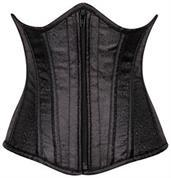 Top Drawer Black Brocade Underbust Steel Boned Corset
