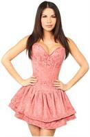 Top Drawer Mauve Lace Steel Boned Ruffle Corset Dress