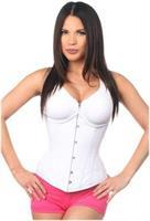 Top Drawer White Cotton Steel Boned Underbust Corset w/Busk Closure