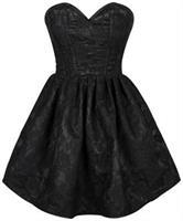 Top Drawer Steel Boned Black Lace Empire Waist Corset Dress
