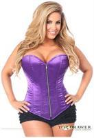Top Drawer Purple Satin Steel Boned Corset