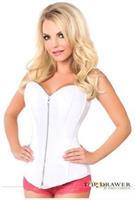 Top Drawer White Satin Steel Boned Corset