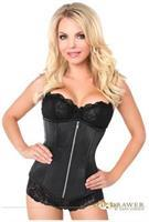 Top Drawer Black Satin Underbust Steel Boned Corset