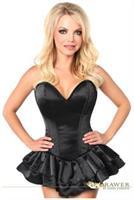 Top Drawer Black Satin Steel Boned Corset Dress