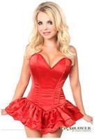 Top Drawer Red Satin Steel Boned Corset Dress