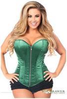 Top Drawer Dark Green Satin Steel Boned Corset