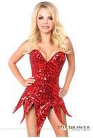 Top Drawer Red Sequin Steel Boned Corset Dress