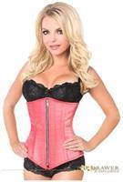 Top Drawer Coral Satin Underbust Steel Boned Corset