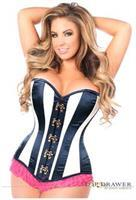 Top Drawer Ivory/Navy Blue Steel Boned Corset w/Clasp Closure