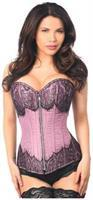 Top Drawer Purple Brocade Steel Boned Corset w/Black Eyelash Lace