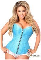Top Drawer Blue Brocade Steel Boned Corset