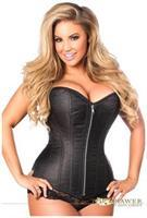 Top Drawer Black Brocade Steel Boned Corset