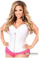 Top Drawer White Brocade Steel Boned Underbust Corset