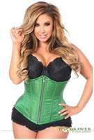 Top Drawer Green Brocade Steel Boned Underbust Corset