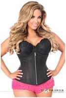 Top Drawer Black Brocade Steel Boned Underbust Corset