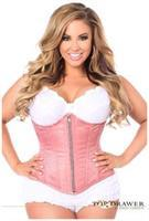 Top Drawer Dusty Rose Brocade Steel Boned Underbust Corset