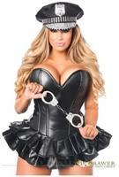Top Drawer Premium Faux Leather Cop Corset Dress Costume