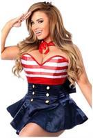 Top Drawer 2 PC Pin-Up Sailor Corset Dress Costume
